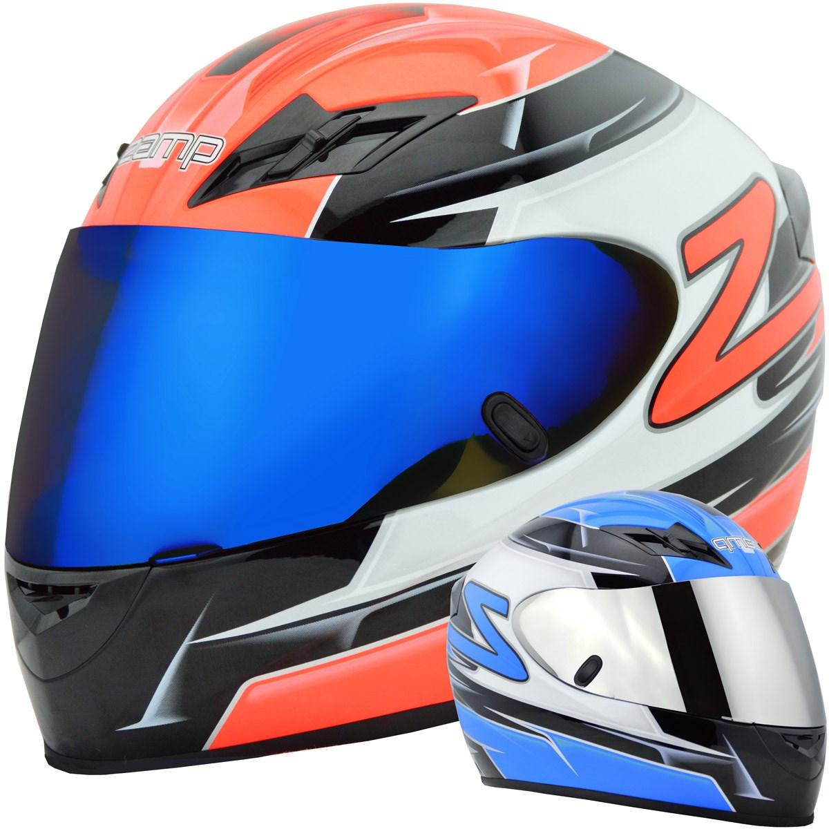 Zamp FS-8 Snell M2015 DOT Helmet Graphic Blue//Silver Large